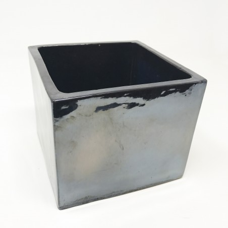 Cube terre cuite émaillée Métal(14x14x12)