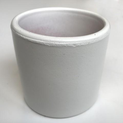 Mini pot terre rond émaillé blanc - 5,5 cm