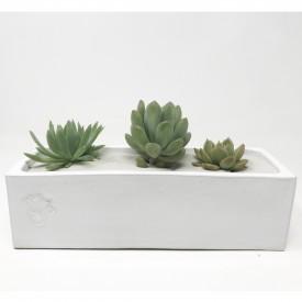 jardinière émaillée blanc - 7 x 21 x 6 cm