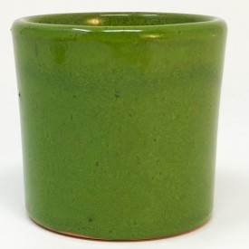 Mini pot terre rond émaillé vert - 5,5 cm