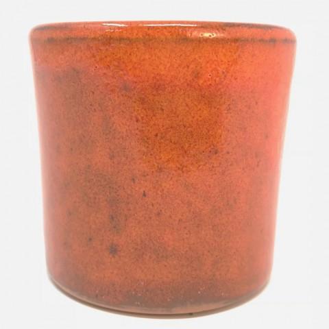 Mini pot terre rond émaillé orange - 5,5 cm