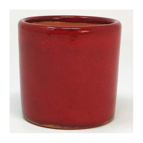 Mini pot terre rond émaillé rouge - 5,5 cm
