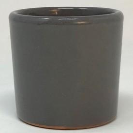 Mini pot terre rond émaillé gris - 5,5 cm