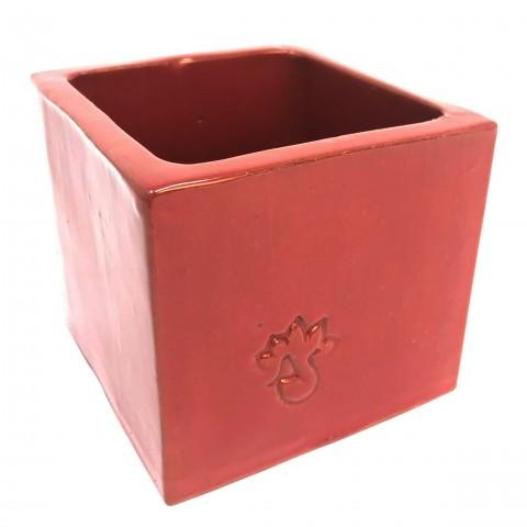 Cube émaillé Rouge - Taille M (8.5 x 8.5 x 8)