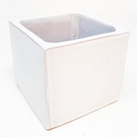 Cube émaillé Blanc - Taille M (8.5 x 8.5 x 8)