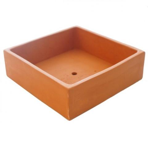 Coupe carré terre cuite - 20x20x6cm