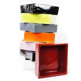 Coupe carrée émaillée - taille L - (20 x 20 x 6)
