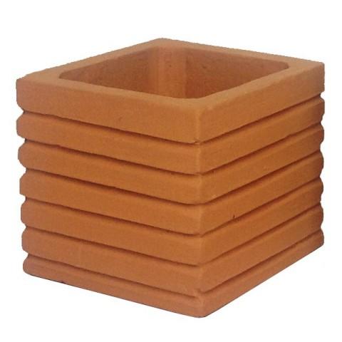 Mini carré terre cuite strié