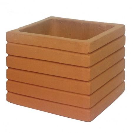 Petit carré terre cuite strié - 8,5x8,5x7
